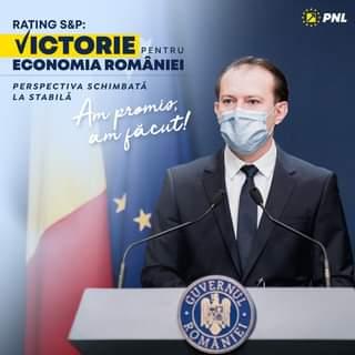Kan een afbeelding zijn van 1 persoon en de tekst 'PNL RATING S&P: VICTORIE PENTRU ECONOMIA ROMÂNIEI PERSPECTIVA SCHIMBATĂ LA STABILĂ Am am fácut! GUV CUVERNUL ERNUL ROMA ROMANTE! NTE!'
