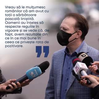 """Kan een afbeelding zijn van een of meer mensen en de tekst 'Vreau să le mulțumesc românilor că am avut cU toții sărbătoare pascală liniș™tită. Oamenit au înÈ›eles să respecte regulile în vigoare și se vede că, de fapt, avem rezultate din ce în ce mai bune în ceea ce privește rata de pozitivare. """" ANTENA'"""