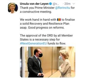 Kan een afbeelding zijn van 1 persoon, staan en de tekst 'Ursula von der Leyen @v... 20m Thank you Prime Minister @florincitu for a constructive meeting. We work hand in hand with to finalise a solid Recovery and Resilience Plan asap. Good progress on reforms. The approval of the ORD by all Member States is a necessary step for #NextGenerationEU funds to flow.'