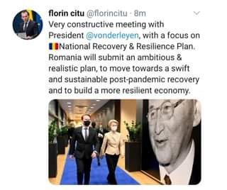 Kan een afbeelding zijn van 1 persoon, staan, pak en de tekst 'florin citu @florincitu 8m Very constructive meeting with President @vonderleyen, with a focus on National Recovery & Resilience Plan. Romania will submit an ambitious & realistic plan, to move towards a swift and sustainable post-pandemic recovery and to build a more resilient economy.'