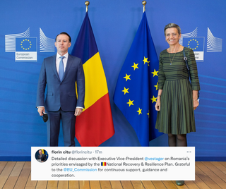 """Kan een afbeelding zijn van 2 mensen, staande mensen en de tekst 'European Commission sion ne florin citu @florincitu. 17m Detailed discussion with Executive Vice-President @vestager on Romania priorities envisaged by the """"National Recovery Resilience Plan. Grateful to the @EU _Commssion for continuous support, guidance and cooperation.'"""